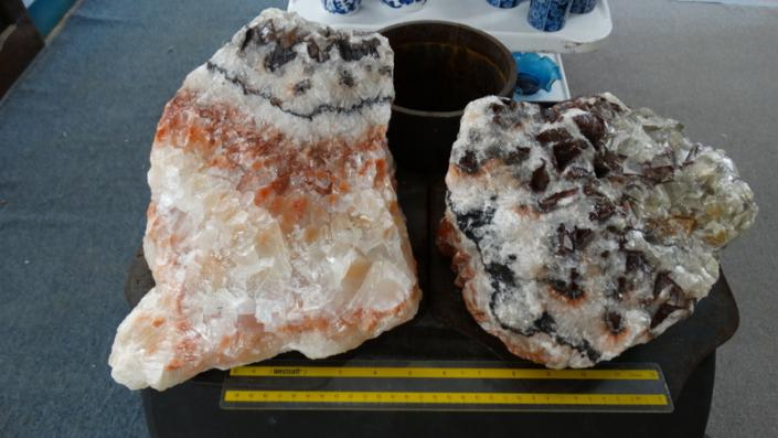 [Image: Incredible multicolored and banded calcite pieces. Very large pieces which can be used as a point of interest in any setting.]